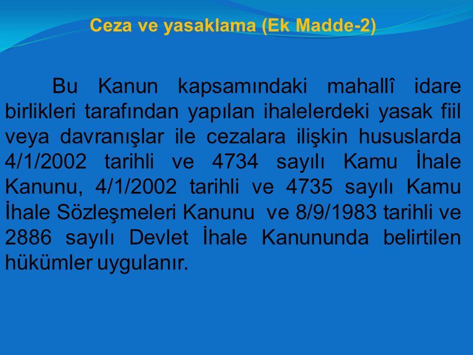 Ceza ve yasaklama (Ek Madde-2)