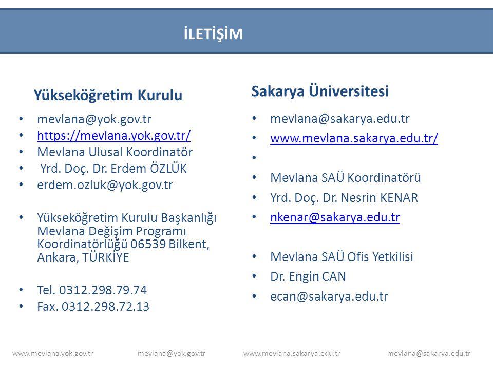 İLETİŞİM Sakarya Üniversitesi Yükseköğretim Kurulu