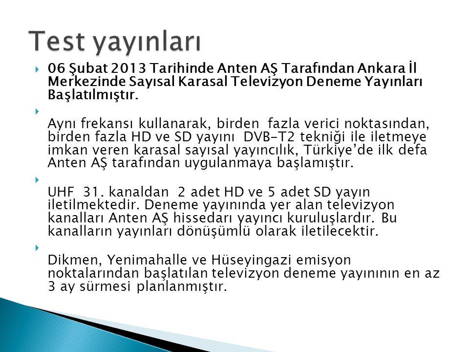 Test yayınları 06 Şubat 2013 Tarihinde Anten AŞ Tarafından Ankara İl Merkezinde Sayısal Karasal Televizyon Deneme Yayınları Başlatılmıştır.