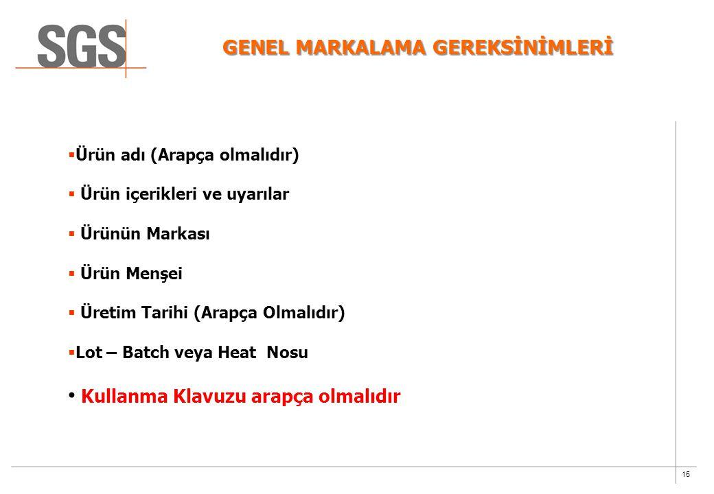 GENEL MARKALAMA GEREKSİNİMLERİ