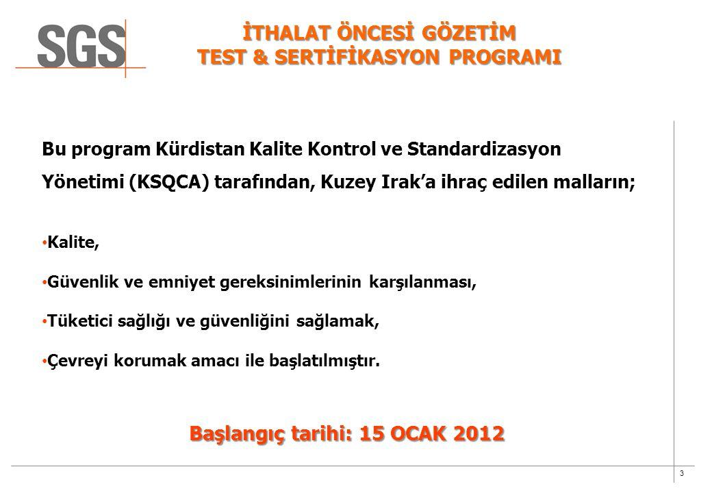 İTHALAT ÖNCESİ GÖZETİM TEST & SERTİFİKASYON PROGRAMI