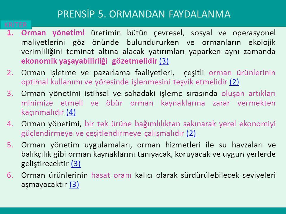 PRENSİP 5. ORMANDAN FAYDALANMA
