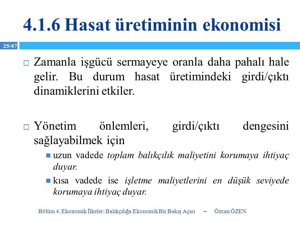 4.1.6 Hasat üretiminin ekonomisi
