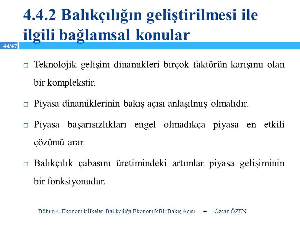 4.4.2 Balıkçılığın geliştirilmesi ile ilgili bağlamsal konular