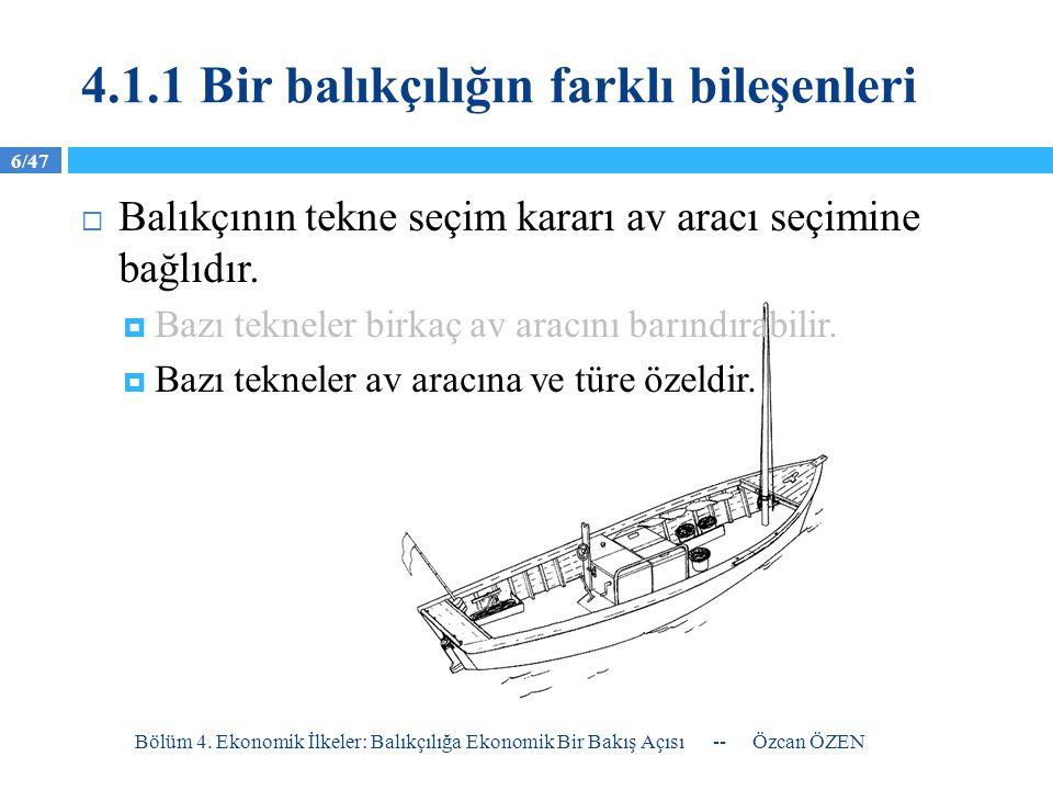 4.1.1 Bir balıkçılığın farklı bileşenleri