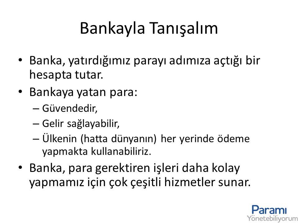 Bankayla Tanışalım Banka, yatırdığımız parayı adımıza açtığı bir hesapta tutar. Bankaya yatan para: