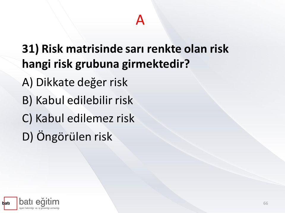 A 31) Risk matrisinde sarı renkte olan risk hangi risk grubuna girmektedir A) Dikkate değer risk.