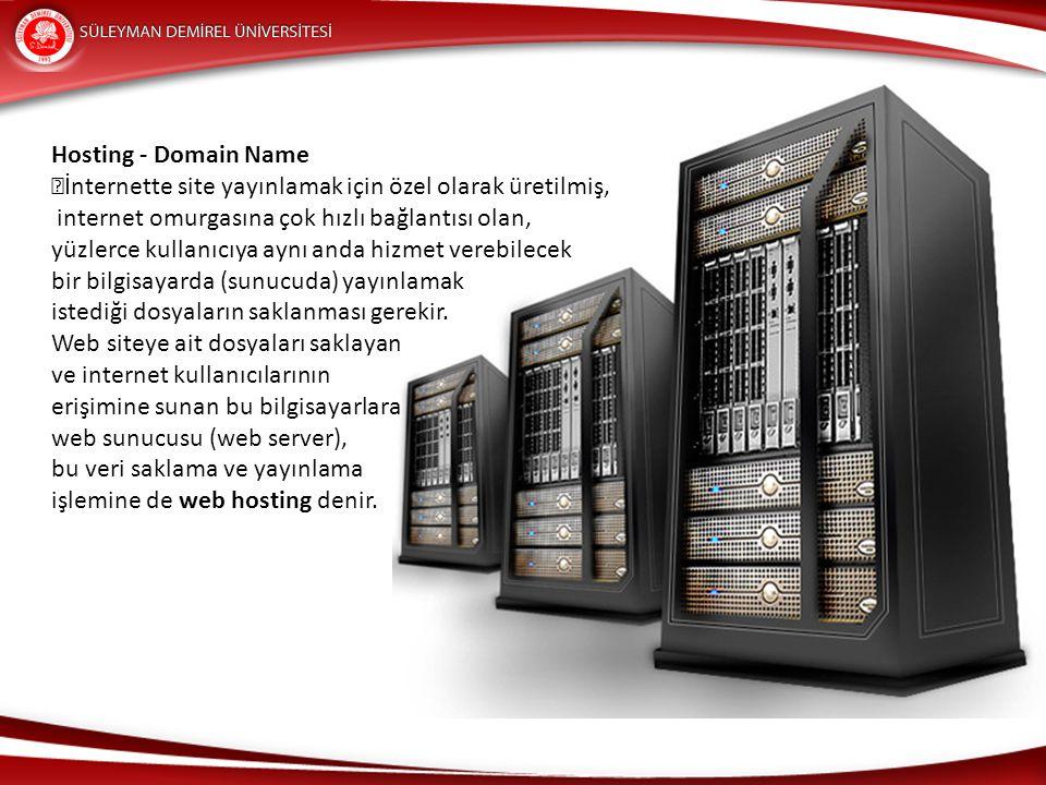 Hosting - Domain Name İnternette site yayınlamak için özel olarak üretilmiş, internet omurgasına çok hızlı bağlantısı olan,