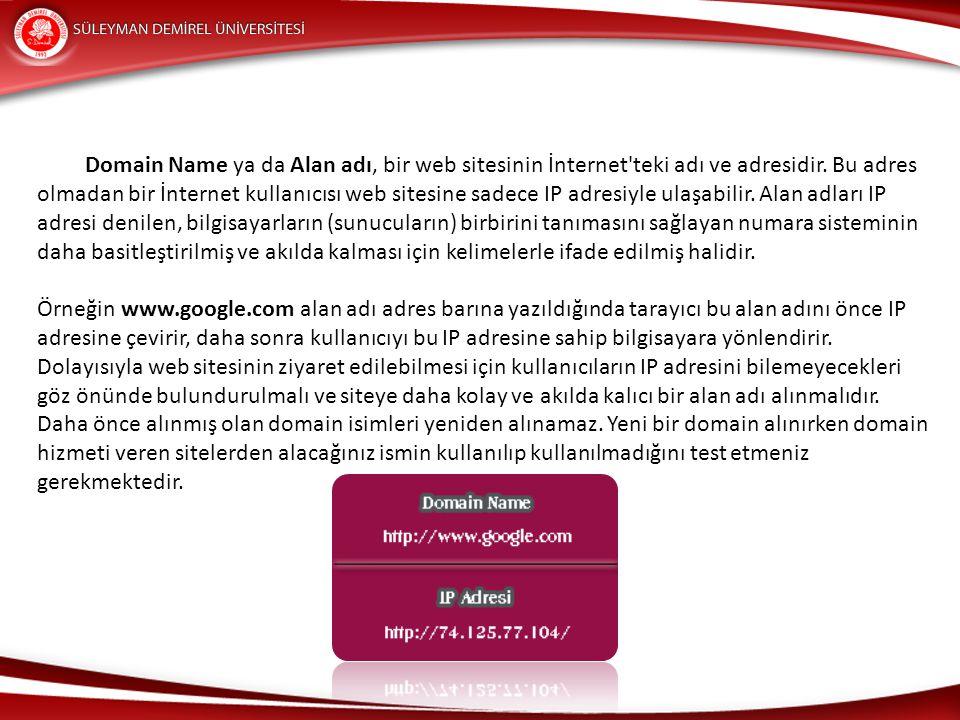 Domain Name ya da Alan adı, bir web sitesinin İnternet teki adı ve adresidir. Bu adres olmadan bir İnternet kullanıcısı web sitesine sadece IP adresiyle ulaşabilir. Alan adları IP adresi denilen, bilgisayarların (sunucuların) birbirini tanımasını sağlayan numara sisteminin daha basitleştirilmiş ve akılda kalması için kelimelerle ifade edilmiş halidir.