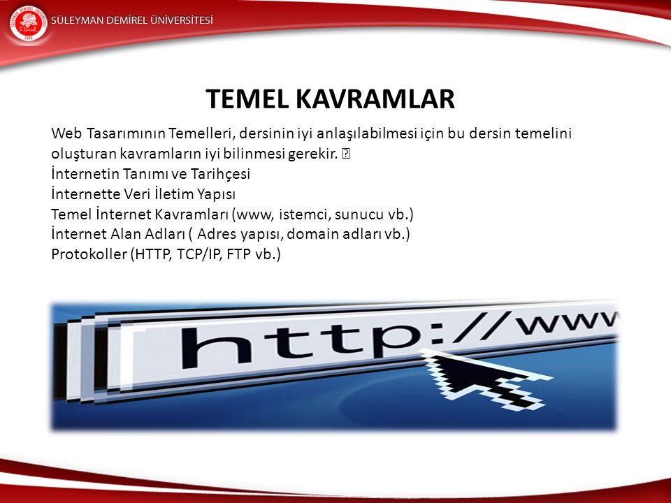 TEMEL KAVRAMLAR Web Tasarımının Temelleri, dersinin iyi anlaşılabilmesi için bu dersin temelini oluşturan kavramların iyi bilinmesi gerekir.
