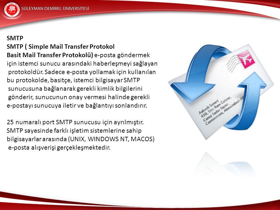 SMTP SMTP ( Simple Mail Transfer Protokol. Basit Mail Transfer Protokolü) e-posta göndermek. için istemci sunucu arasındaki haberleşmeyi sağlayan.