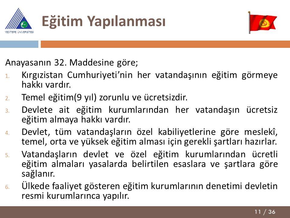 Eğitim Yapılanması Anayasanın 32. Maddesine göre;