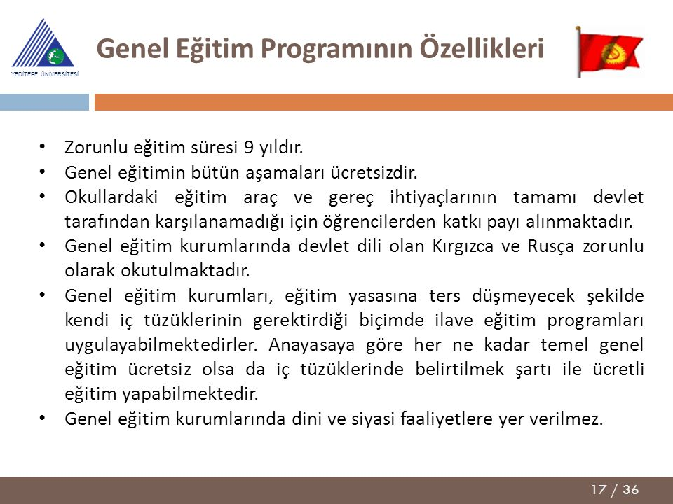 Genel Eğitim Programının Özellikleri