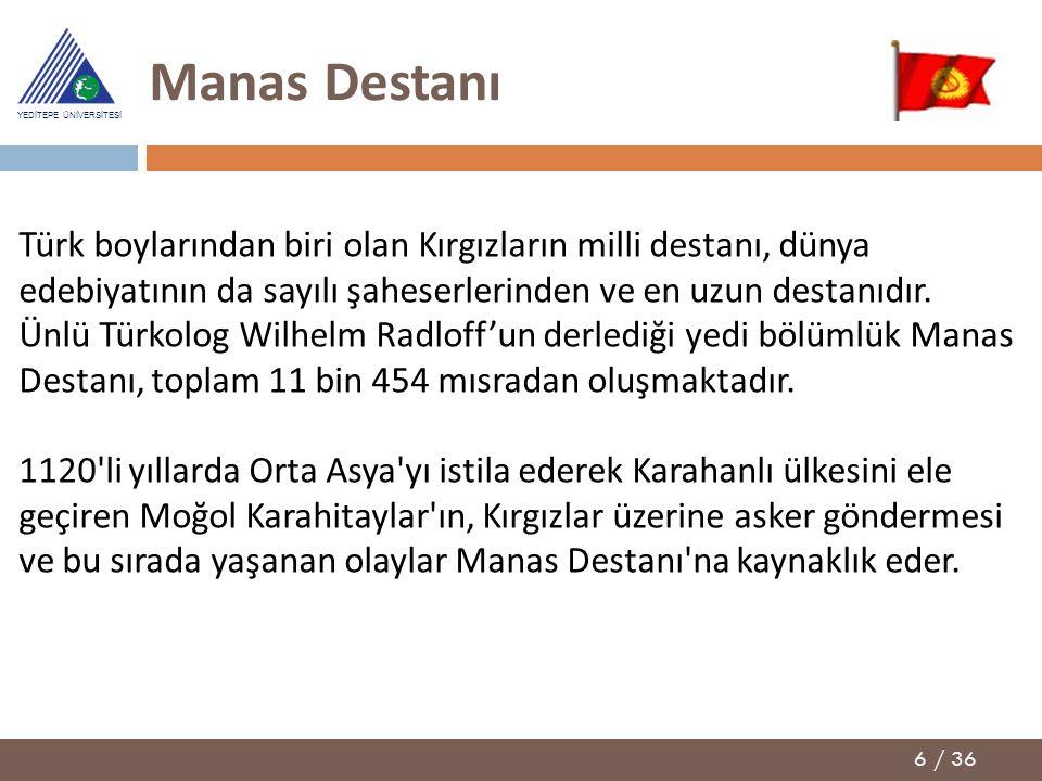 Manas Destanı Türk boylarından biri olan Kırgızların milli destanı, dünya edebiyatının da sayılı şaheserlerinden ve en uzun destanıdır.