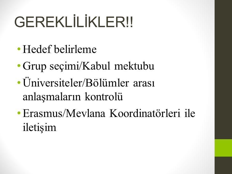 GEREKLİLİKLER!! Hedef belirleme Grup seçimi/Kabul mektubu
