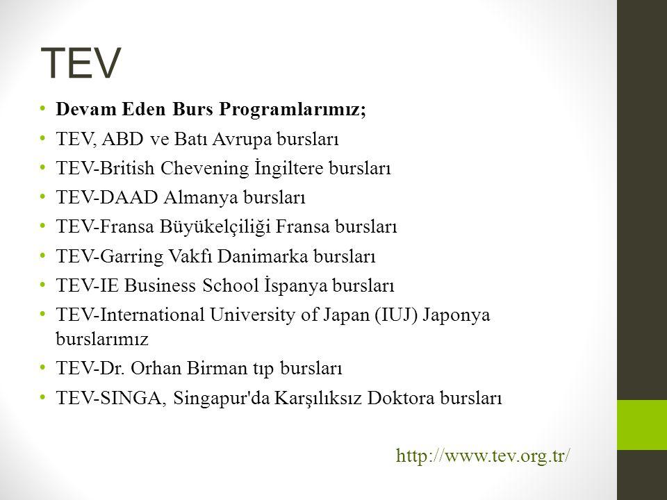 TEV Devam Eden Burs Programlarımız; TEV, ABD ve Batı Avrupa bursları