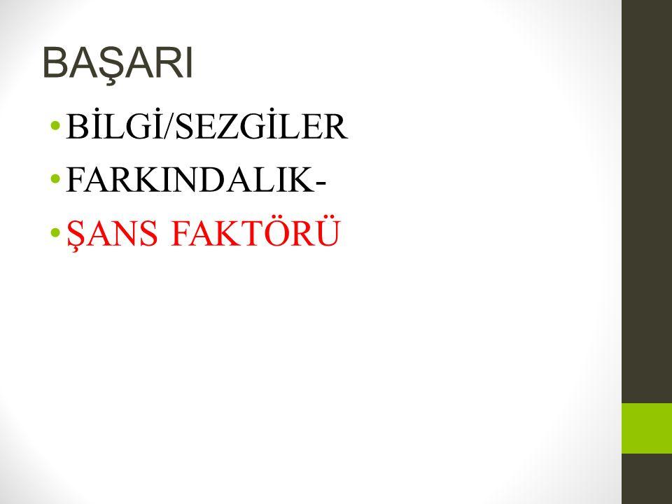BAŞARI BİLGİ/SEZGİLER FARKINDALIK- ŞANS FAKTÖRÜ