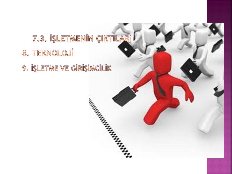 7.3. İŞLETMENİN ÇIKTILARI 8. TEKNOLOJİ 9. İŞLETME VE GİRİŞİMCİLİK