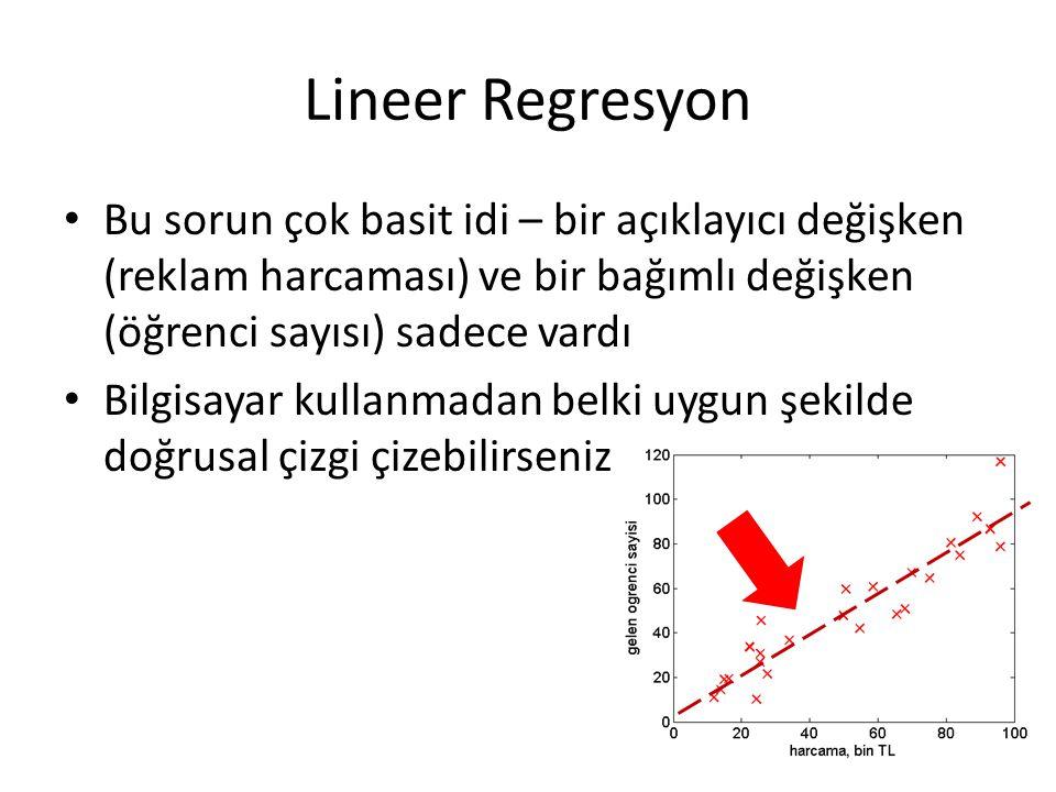 Lineer Regresyon Bu sorun çok basit idi – bir açıklayıcı değişken (reklam harcaması) ve bir bağımlı değişken (öğrenci sayısı) sadece vardı.