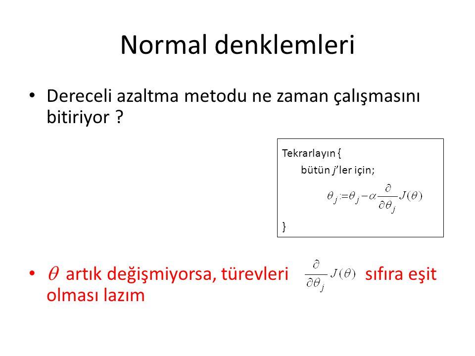 Normal denklemleri Dereceli azaltma metodu ne zaman çalışmasını bitiriyor