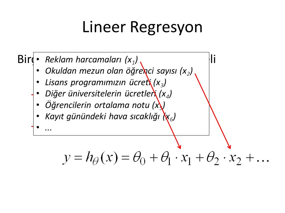 Lineer Regresyon Birçok boyutlu lineer regresyon modeli Önce: Şimdi: