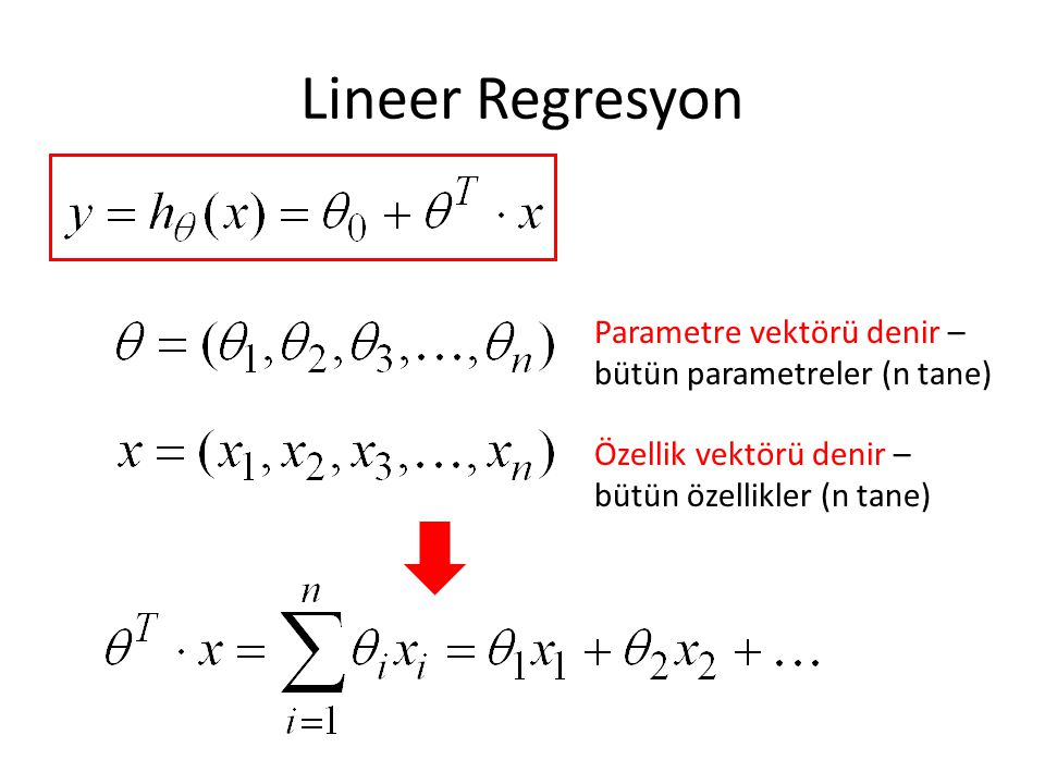 Lineer Regresyon Parametre vektörü denir – bütün parametreler (n tane)