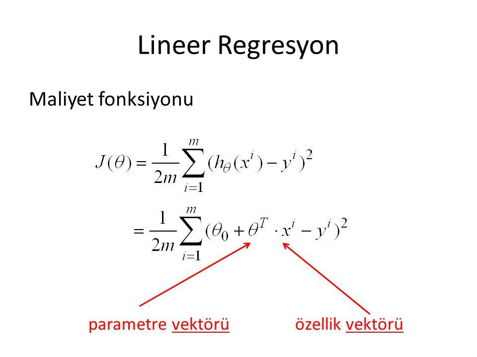 Lineer Regresyon Maliyet fonksiyonu parametre vektörü özellik vektörü