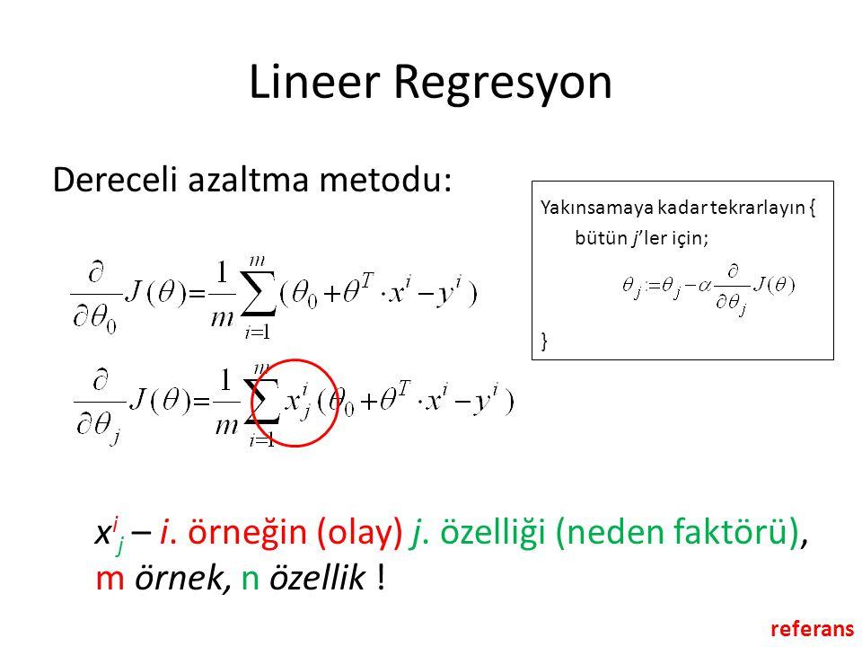 Lineer Regresyon Dereceli azaltma metodu: