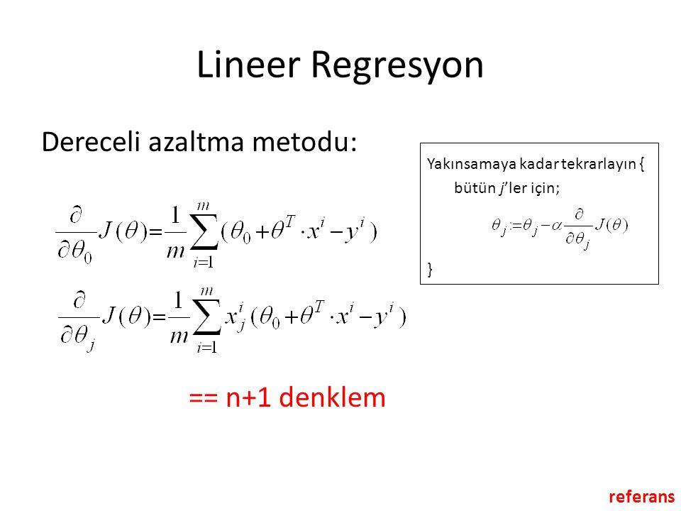 Lineer Regresyon Dereceli azaltma metodu: == n+1 denklem referans