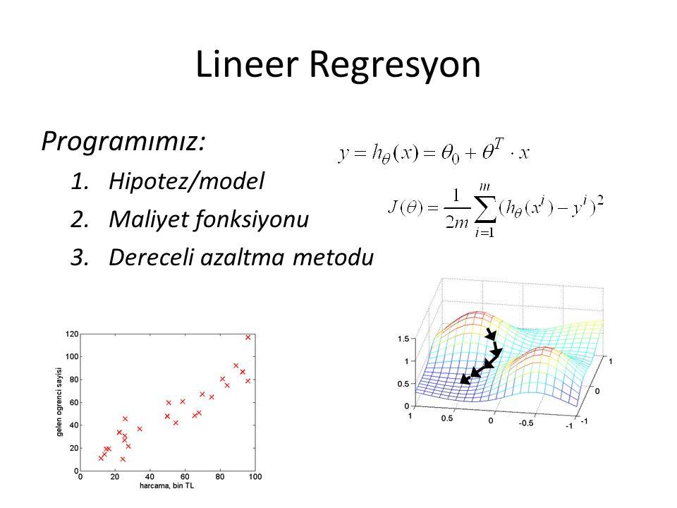 Lineer Regresyon Programımız: Hipotez/model Maliyet fonksiyonu
