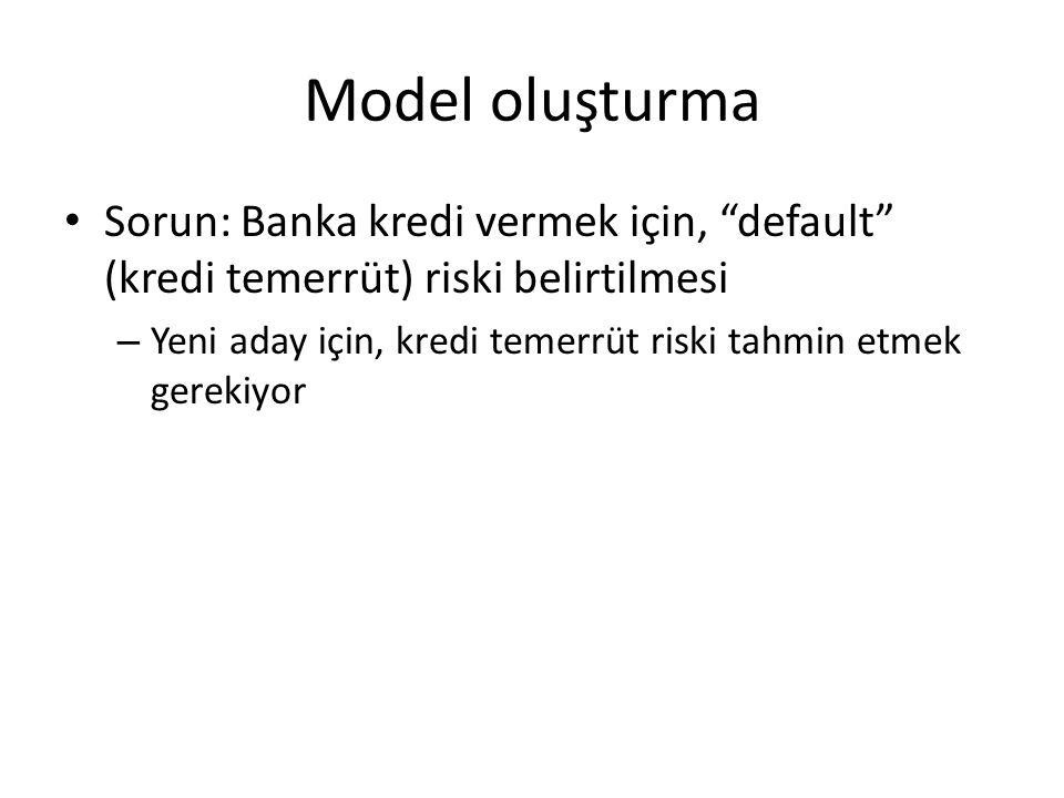 Model oluşturma Sorun: Banka kredi vermek için, default (kredi temerrüt) riski belirtilmesi.