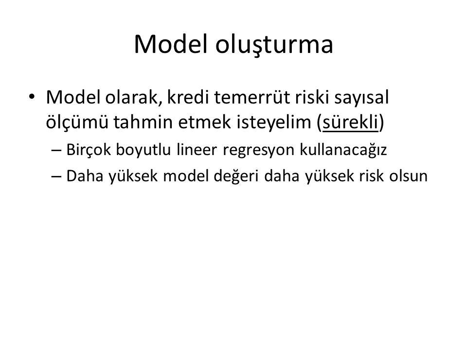 Model oluşturma Model olarak, kredi temerrüt riski sayısal ölçümü tahmin etmek isteyelim (sürekli) Birçok boyutlu lineer regresyon kullanacağız.