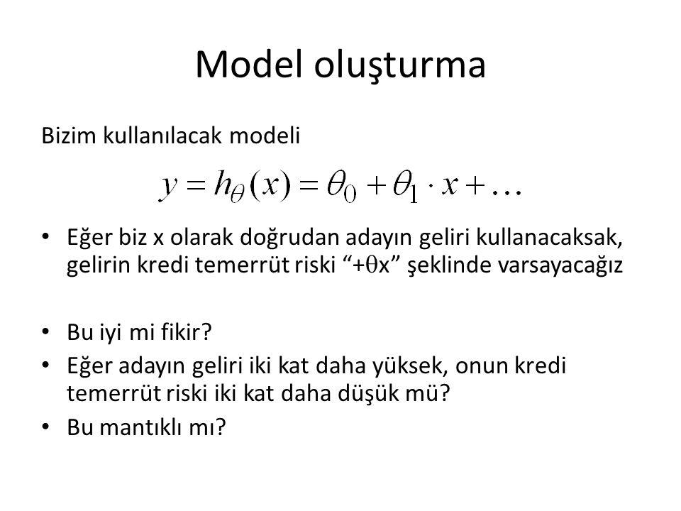 Model oluşturma Bizim kullanılacak modeli