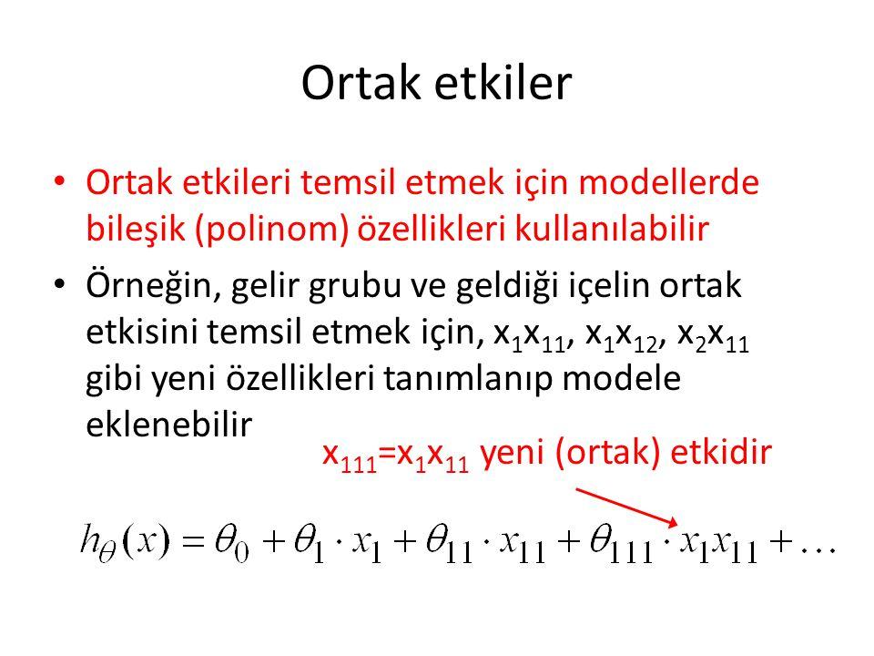 Ortak etkiler Ortak etkileri temsil etmek için modellerde bileşik (polinom) özellikleri kullanılabilir.