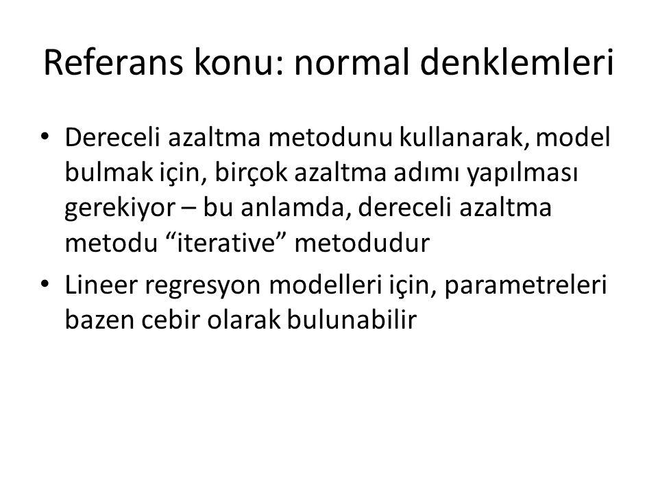 Referans konu: normal denklemleri