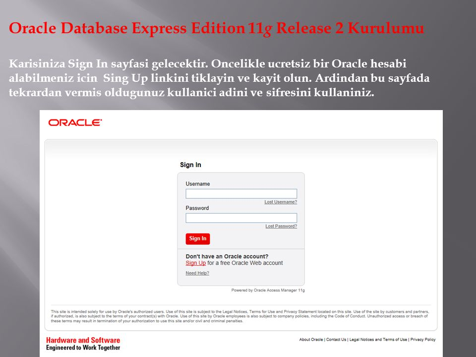 Oracle Database Express Edition 11g Release 2 Kurulumu