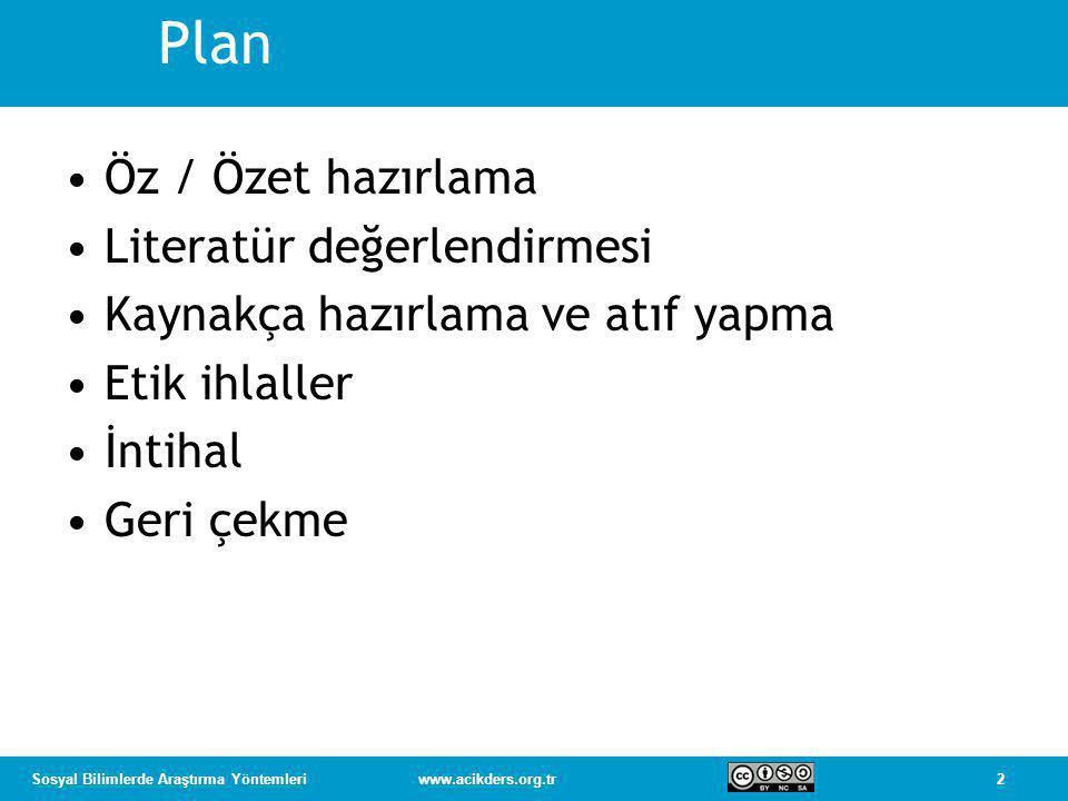 Plan Öz / Özet hazırlama Literatür değerlendirmesi