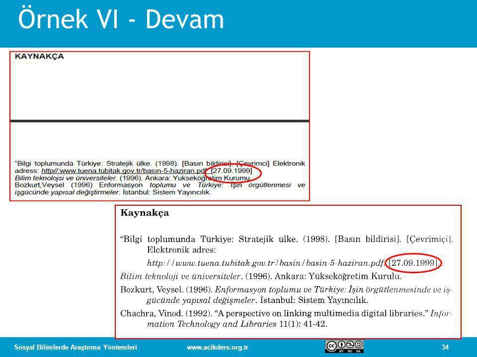 Örnek VI - Devam