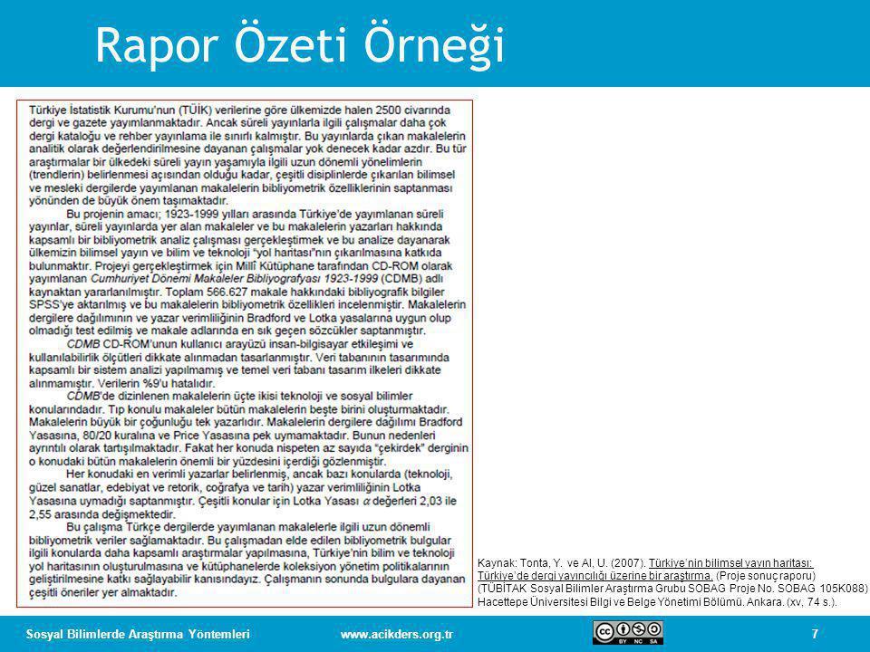 Rapor Özeti Örneği Kaynak: Tonta, Y. ve Al, U. (2007). Türkiye'nin bilimsel yayın haritası: