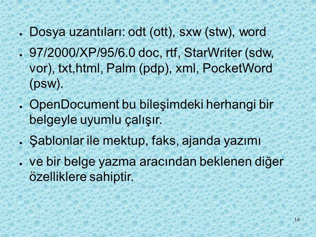 Dosya uzantıları: odt (ott), sxw (stw), word