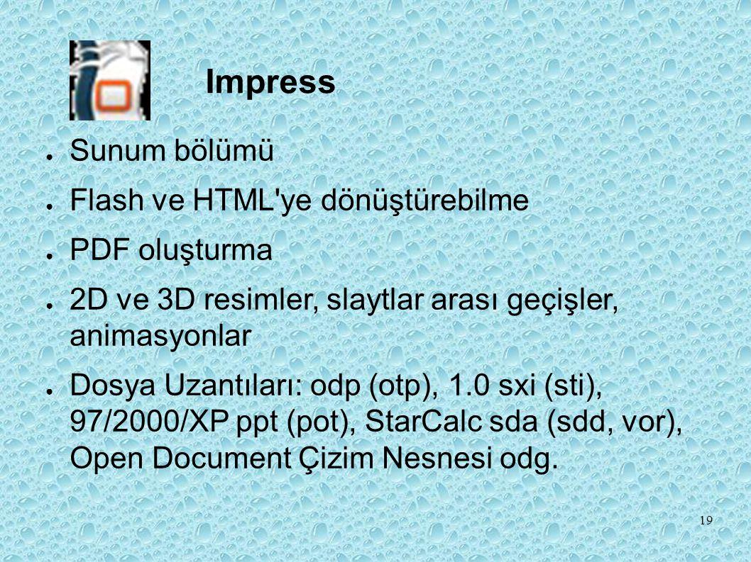 Impress Sunum bölümü Flash ve HTML ye dönüştürebilme PDF oluşturma
