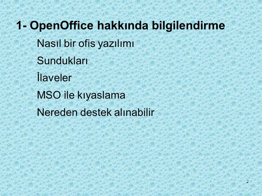 1- OpenOffice hakkında bilgilendirme