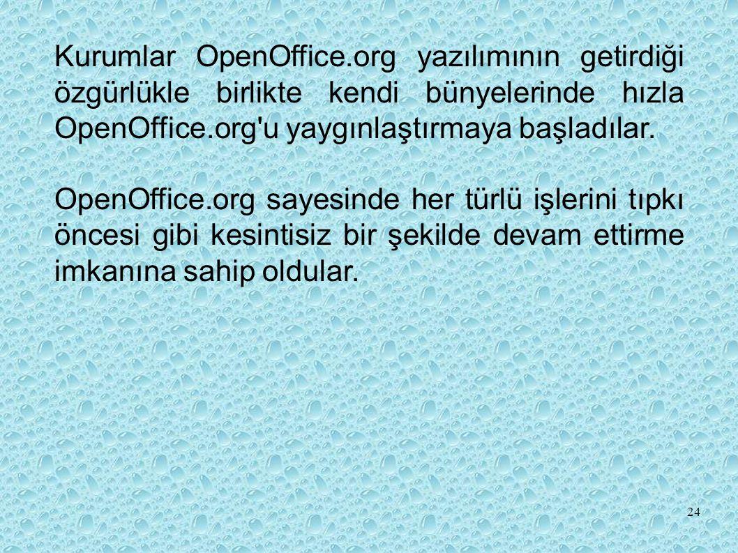 Kurumlar OpenOffice.org yazılımının getirdiği özgürlükle birlikte kendi bünyelerinde hızla OpenOffice.org u yaygınlaştırmaya başladılar.