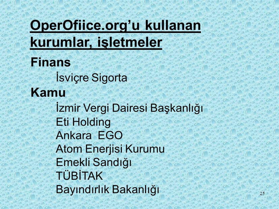 OperOfiice.org'u kullanan kurumlar, işletmeler