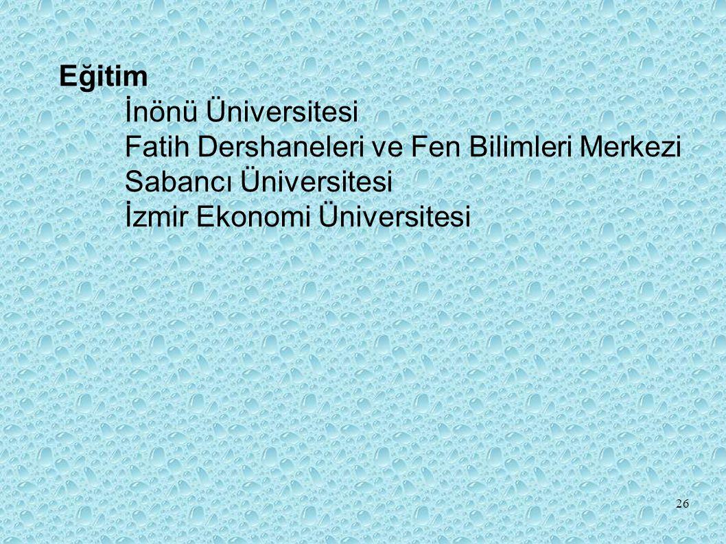 Eğitim İnönü Üniversitesi. Fatih Dershaneleri ve Fen Bilimleri Merkezi.