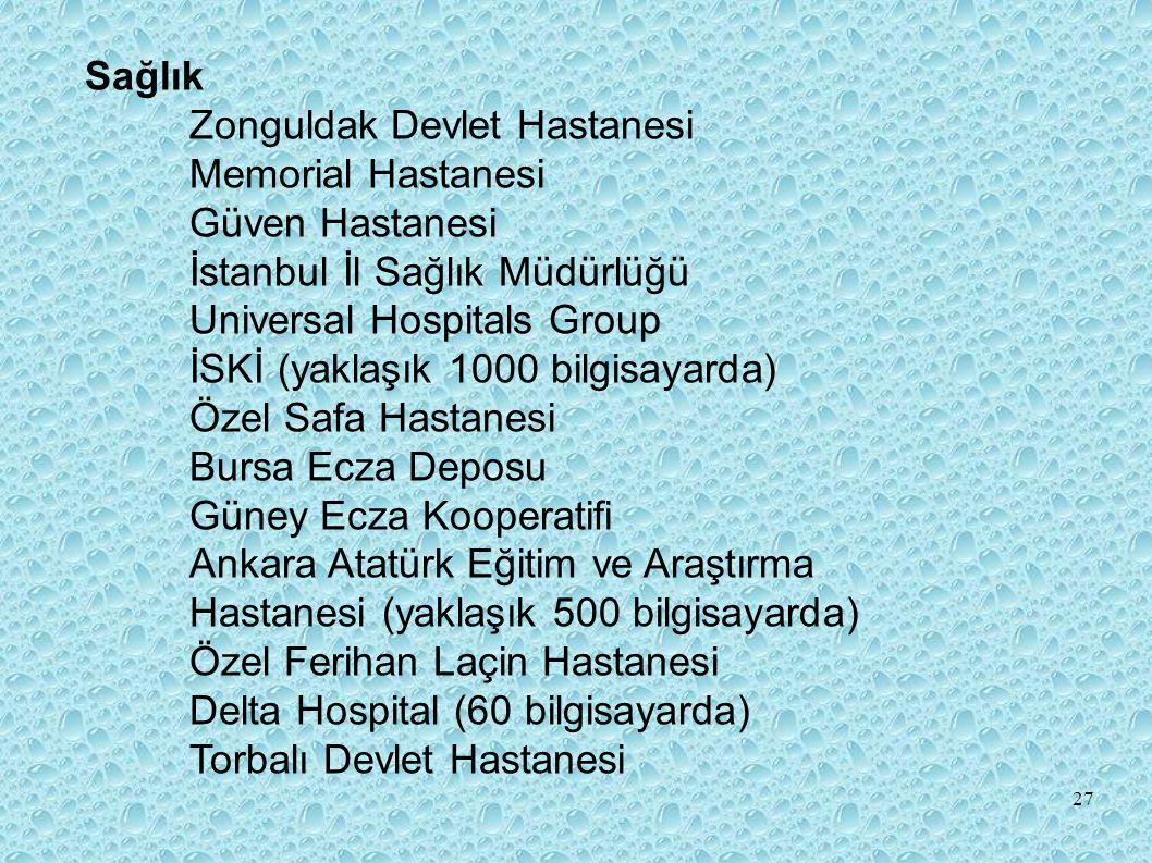 Sağlık Zonguldak Devlet Hastanesi. Memorial Hastanesi. Güven Hastanesi İstanbul İl Sağlık Müdürlüğü.