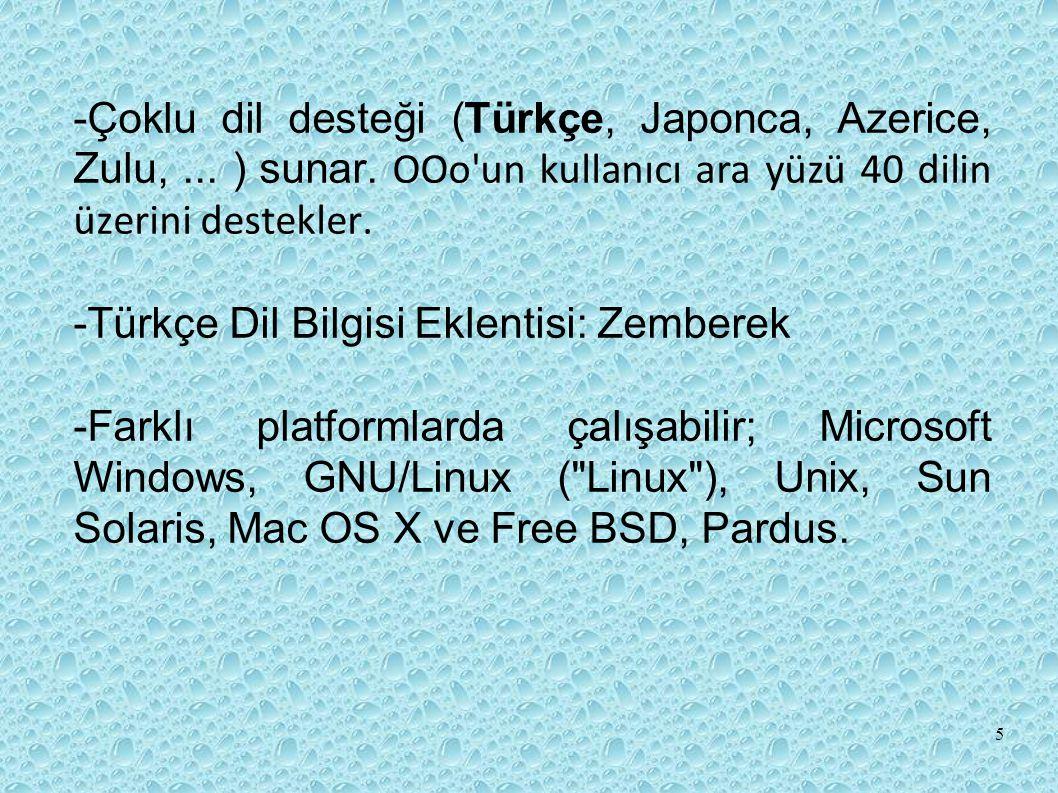-Çoklu dil desteği (Türkçe, Japonca, Azerice, Zulu,. ) sunar