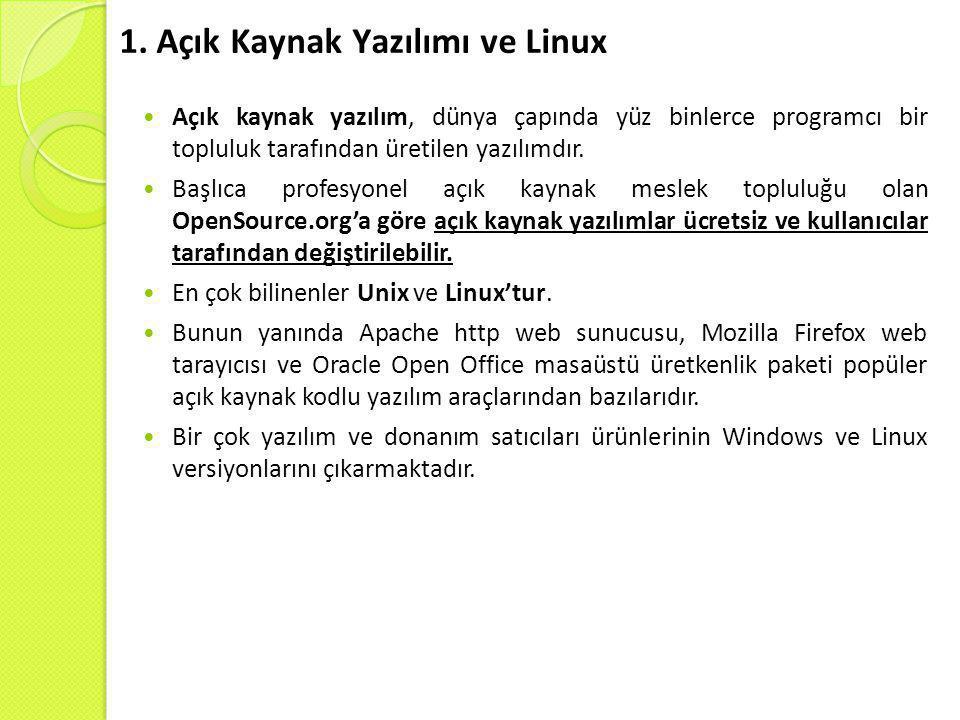 1. Açık Kaynak Yazılımı ve Linux