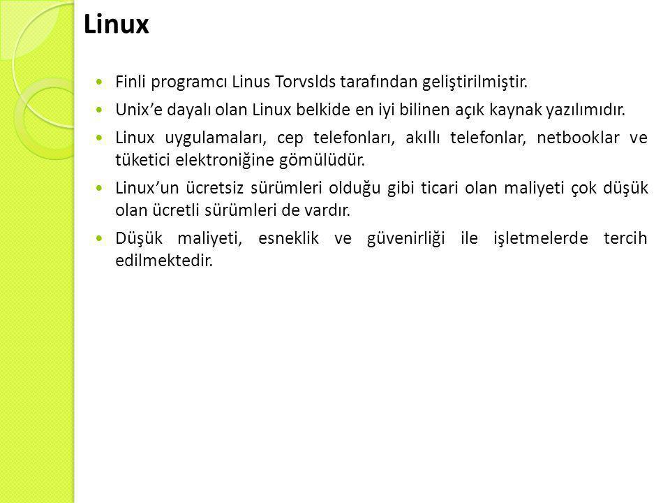 Linux Finli programcı Linus Torvslds tarafından geliştirilmiştir.