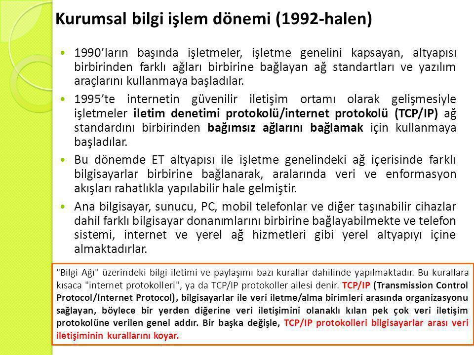 Kurumsal bilgi işlem dönemi (1992-halen)